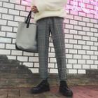 Plaid Straight-fit Dress Pants