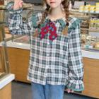 Plaid Lace Trim Blouse As Shown In Figure - One Size