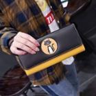 Faux-leather Color-block Long Wallet