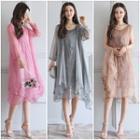 Set: Embroidered Sleeveless Dress + Chiffon Jacket