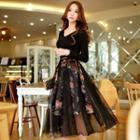 Tulle Overlay Floral Midi Skirt