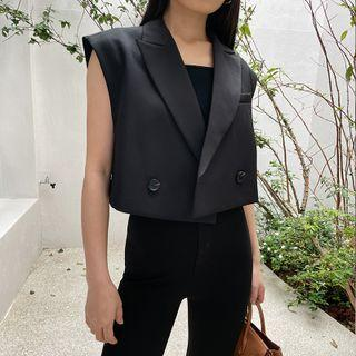 Plain Cropped Blazer Vest