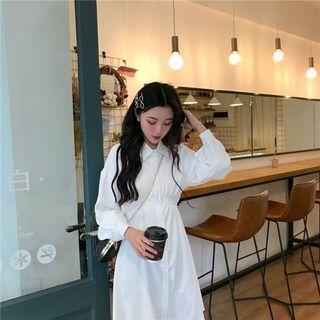 Long-sleeve Mini A-line Shirtdress White - One Size