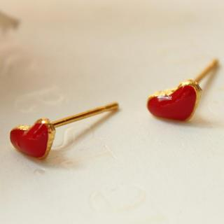 Small Red Heart Earring Red - One Size