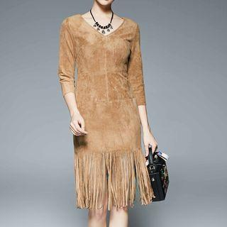 Faux-suede Fringed Sheath Dress