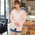 Open-front Color-block Cardigan