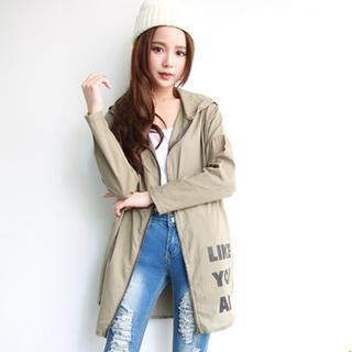 Lettering Hooded Zip Jacket