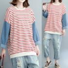 Mock Two-piece Stripe Panel Long-sleeve T-shirt