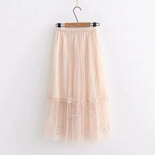 Beaded Frill Trim A-line Mesh Skirt