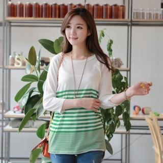 3/4-sleeve Striped Knit Top