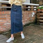 Slit-back Denim Maxi Skirt