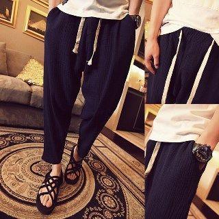 Drawstring Cropped Tapered Pants