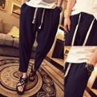 Drawstring Cropped Tapered Pants