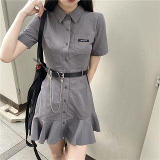 Short-sleeve Mini A-line Shirt Dress / Belt