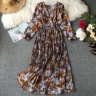 Long-sleeve Floral Print Maxi Chiffon Dress