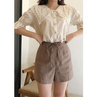 Drawcord-waist Cotton Shorts