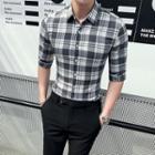 Plaid Elbow-sleeve Dress Shirt