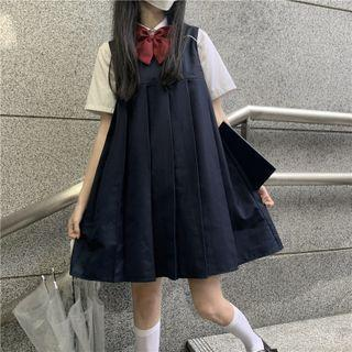 Pleated Overall Dress / Short-sleeve Bow Tie Shirt