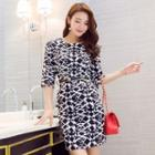 Patterned Elbow-sleeve Sheath Dress
