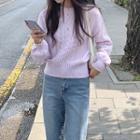 Plain Cropped Cable Knit Sweater