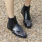 Wing-tip Studded Chelsea Ankle Boots