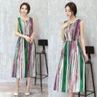 Sleeveless Striped Pleated A-line Midi Dress