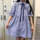 Elbow-sleeve Pinstriped Shirt Dress