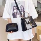 Set: Transparent Flap Crossbody Bag + Pouch