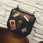 Applique Faux Leather Shoulder Bag