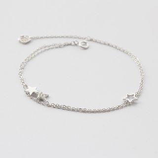 Rhinestone Star Sterling Silver Bracelet