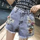 Flower Accent Denim Shorts