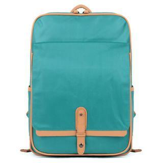 Contrast-trim Buckled Canvas Backpack