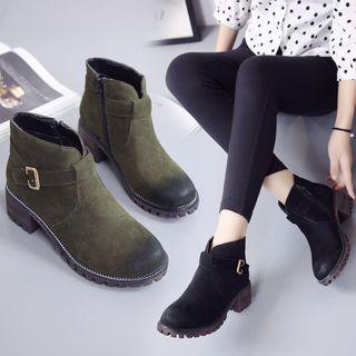 Chunky Heel Belted Ankle Boots