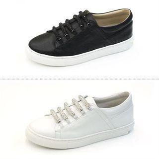 Genuine Leather Rhinestone Strap Sneakers