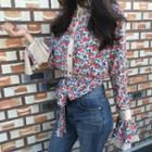 Floral Print Bell-sleeve Blouse With Sash