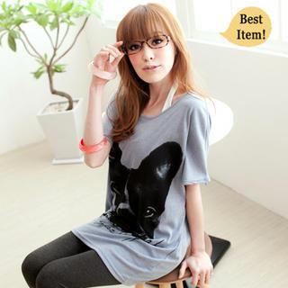 Short-sleeve Dog-print T-shirt