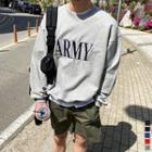 Army Embroidered Boxy Sweatshirt