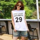 Inset Cropped Tank Top Lettering Tank Top