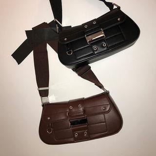 Snap-button Flap Crossbody Bag