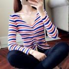 Striped Drawstring V-neck Knit Top