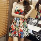 Sleeveless Floral Pleated A-line Dress