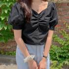 Short-sleeve Plain Top Black - One Size