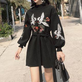 Crane Embroidered Long-sleeve A-line Dress