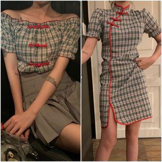 Chinese Frog Buttoned Plaid Off-shoulder Blouse / Plaid Mini Qipao