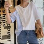 Elbow-sleeve Cold-shoulder Two-tone T-shirt