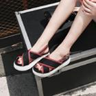 Cross Strap Slingback Platform Sandals