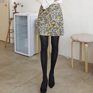 Floral Jacquard A-line Mini Skirt
