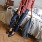 Zip-pocket Coated Boot-cut Pants