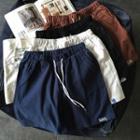 Embroidered Drawstring Sweat Shorts
