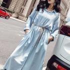 Plain Lapel Long-sleeve Chiffon Dress